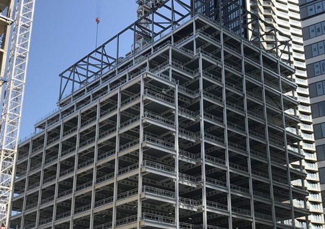 D1/D2 Wood Wharf steel frame during construction