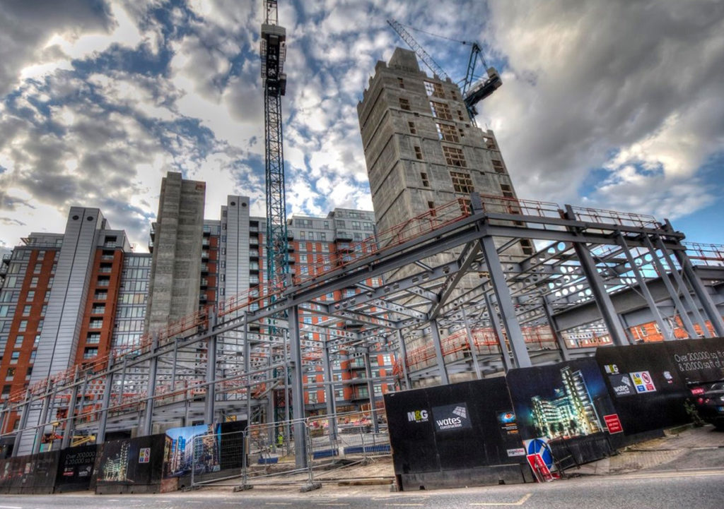 Central Square steel frame during construction