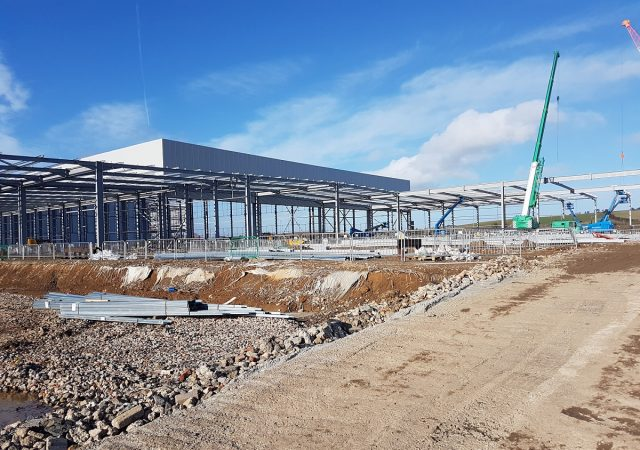 Aldi Retail Distribution Centre, Isle of Sheppey during construction
