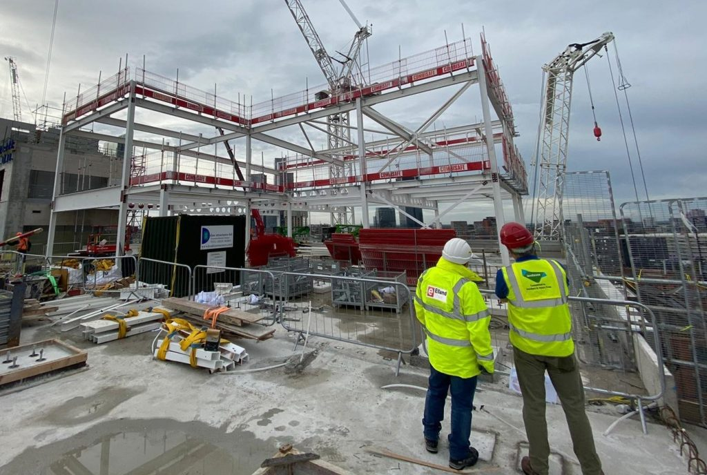 MGY steel frame with Elland Steel and Lendlease team collaborating