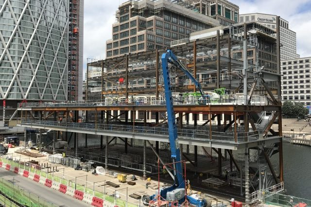 Heron Quay Pavilion during construction in canary wharf
