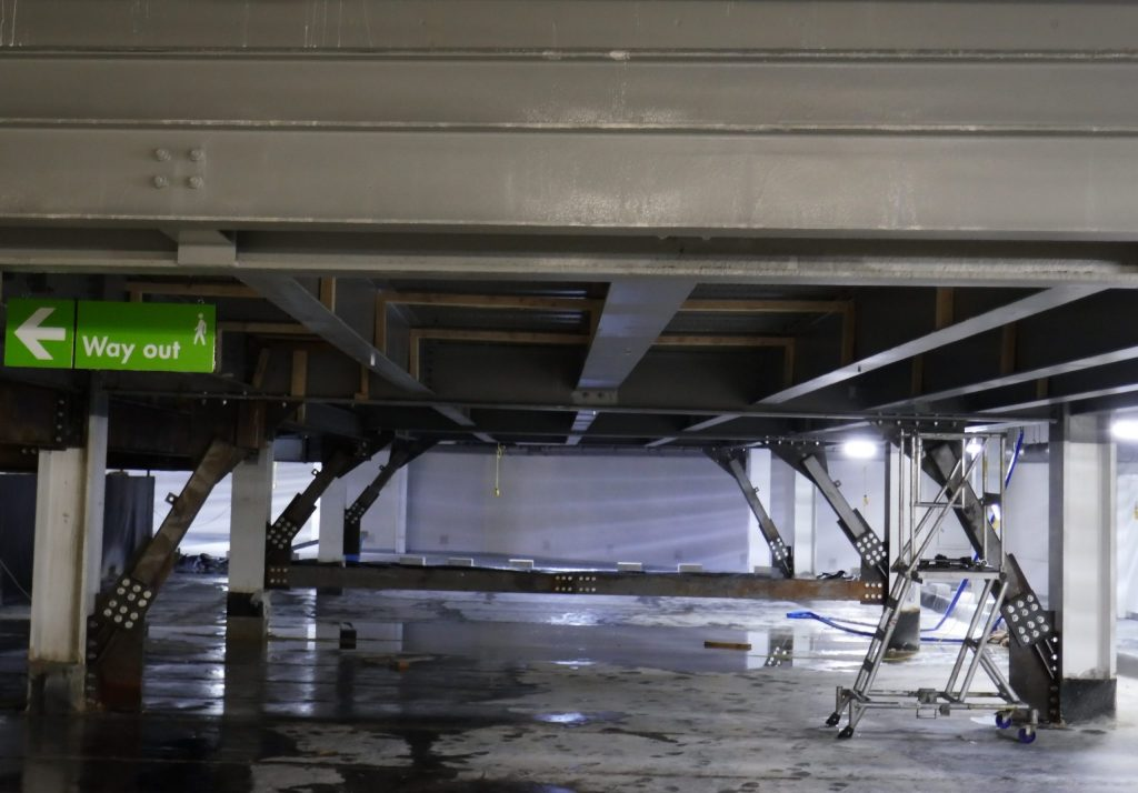 Temporary steel used to prop up the slab of car park